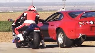 Download CARS vs BIKES!!(1000hp Supra,2000hp Lambo,GSXR,GTR,Hayabusa,r34,EVO,ZX10R,r1,Skyline,Honda Civic) Video