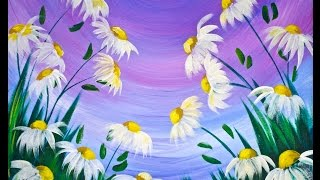 Download EASY Spring Flowers Acrylic Painting on Canvas for Beginners #lovespringart2017 Video