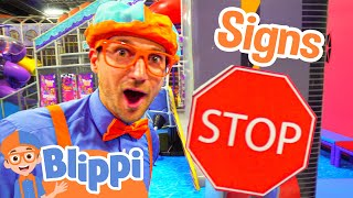 Download Blippi Plays at the Indoor Play Place | Learn Street Signs for Kids Video