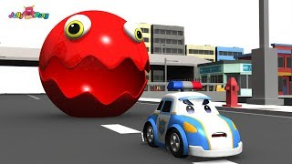 Download Learning Color city Vehicle School Bus Fire truck cute Police car and PACMAN Play for kids car toys Video