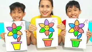 Download KuMin Kids Go To School Learn Coloring Flower Pot at Classroom Funny Video
