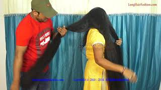 Download Ritika Very Thick Below Knee Length Hair Brushing by Male Friend Video
