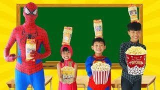 Download Spiderman Learn color with POPCORN w/ Superman tripped Frozen Elsa Paint Broom Heroes School Color Video