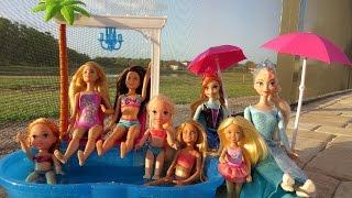Download POOL Fun ! Ice Prank - Elsa & Anna toddlers - Barbie's New Car - Swimming - Splash - Water - Slide Video