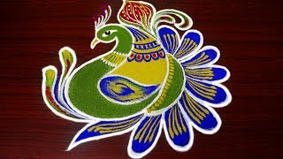 Download simple peacock rangoli designs for margazhi - latest and beautiful peacock kolam designs freehand Video