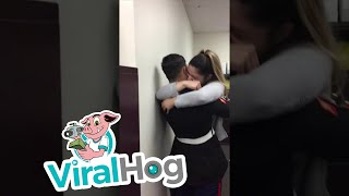 Download Marine Surprises Girlfriend at Work with Early Arrival || ViralHog Video
