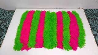 Download DIY How to make doormat with old clothes and woolen how to make table mat form woolen Video