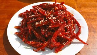 Download Dried shredded pollock seasoned with gochujang (Bugeopo gochujang-muchim: 북어포 고추장무침) Video