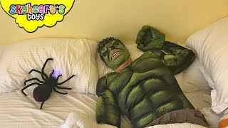 Download Toddler pranks HULK with giant spider! - Prank war with Skyheart's toys for kids avengers Video