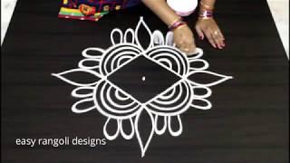 Download How to draw a simple flower kolam    cute rangoli designs    beautiful muggulu Video