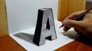 Download 3D Trick Art on Paper, Letter ″A″ with Graphite Pencil Video