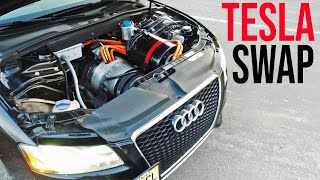Download Worlds ONLY Tesla Swapped Audi! How Did He do it? Video