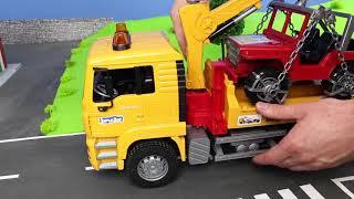 Download Fire Truck, Excavator, Dump Trucks, Tractor & Bulldozer | Bruder Construction Toy Vehicles for Kids Video