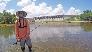 Download Fishing Under Lake Dam Before the Water Comes Video