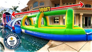 Download *WORLD RECORD* LONGEST BACKYARD SLIP 'N SLIDE EVER!! (100+ ft) Video