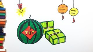 Download Vẽ tranh ngày Tết | Cách vẽ quả Dưa Hấu, Bánh Chưng | Tô màu tranh dân gian | BinBon Kids TV Video