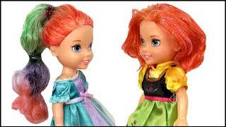 Download HAIRCUT ! Elsa and Anna toddlers DYE their hair at Salon - Barbie is the hairstylist Video