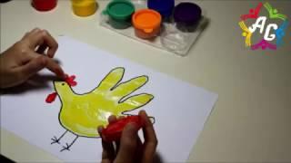 Download Пальчиковые краски. Рисуем петушка ладонью.Рисунки для малышей/finger paints. shuffling rooster hand Video