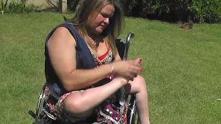 Download Brenda enjoy her polio feet ( polio woman, crippled feet, wheelchair transfers useless legs) Video