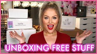 Download FREE STUFF BEAUTY GURUS GET! Huge PR Unboxing Video
