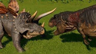 Download Stegoceratops vs T-Rex, Indominus Rex, Spinosaurus, Giganotosaurus & Allosaurus (1080p 60FPS) Video