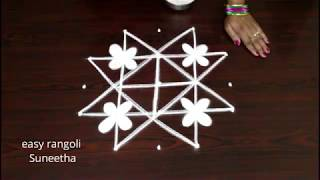 Download Cute kolam designs with 5 dots || easy rangoli paterns || new muggulu Video