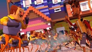 Download Minecraft | 150 Neighbors vs 150 Players! (Hello Neighbor Massive Mob Battles) Video