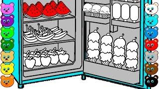 Download Learn Colors for Kids with Fridge of Ice Cream, Fruits & Candy | Coloring Pages Video