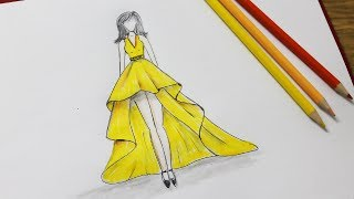 Download How to draw a dress design - Dresses Drawing step by step Video