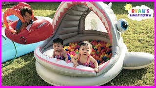 Download Babies and Kids Family Fun Shark Pool Time with Color Balls! Ryan's Family Review Video
