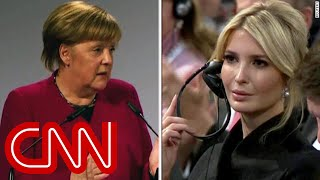 Download Merkel hammers Trump as Ivanka looks on Video