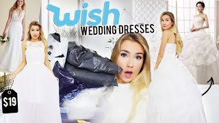 Download TRYING ON WEDDING DRESSES FROM WISH!! Video