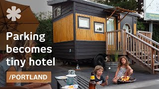 Download Family builds 6 tiny homes for hotel on old Portland parking Video