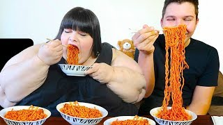 Download Extreme Spicy Noodle Challenge With Hungry Fat Chick Video