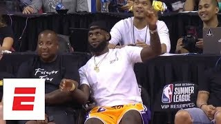 Download LeBron James at summer league for the Lakers game and likes what he sees [highlights] | ESPN Video
