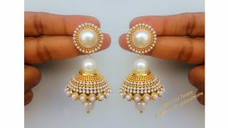 Download How Make Beautiful Silk Thread Pearl Drop Earrings At Home | DIY | Silk Thread Jhumkas Making Video