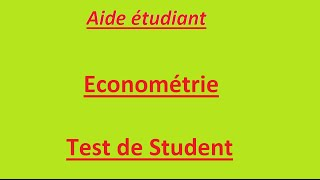 Download Econométrie : régression simple 6 : Test de Student Video