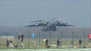 Download [HD] USAF Boeing C-17 Globemaster powerful takeoff at Zurich Airport - 23/01/2016 Video