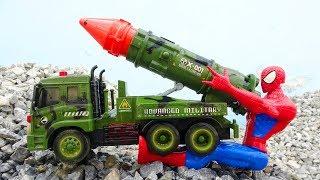 Download Spiderman, rocket car, hulk, dump truck - Toys for kids G285M Video
