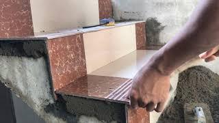 Download Construction Concrete Stair Floor Tile Installation Process Video