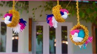 Download DIY Bird wall decor/love birds /paper cup craft/woollen bird wall decor/best out of waste Video