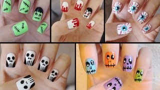 Download Five Cute & Easy Halloween Nail Tutorials! Video