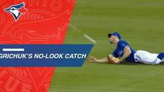 Download Grichuk makes an incredible, no-look catch Video
