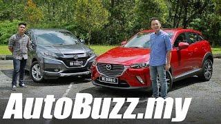 Download Mazda CX-3 2.0L SkyActiv vs Honda HR-V 1.8L V review - AutoBuzz.my Video