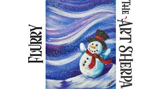 Download Beginners How to paint with Acrylic on Canvas The Flurry Snowman Video