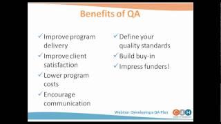 Download WEBINAR: Developing a Quality Assurance Plan Video