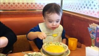 Download Toddler Eating Food: My son, Aden, eating soup at Sayzeriya Video