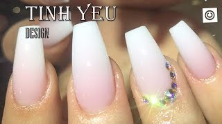 Download alex nail art desgn/nail technician-TINH YEU/HOW TO MAKE OMBRE PINK AND WHITE WITH GRANITE STON#4 Video