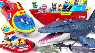 Download Jurassic World 2 huge sea dinosaur Mosasaurus appeared! Paw Patrol! Save the minions! - DuDuPopTOY Video