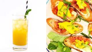 Download Basil Peach Spritzer + Prosciutto, Brie and Mango Crostini By Ayesha Curry Video